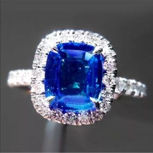 Jewelry - 14k white gold sapphire halo engagement ring